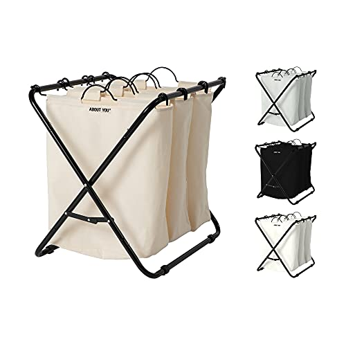 ABOUT YOU Wäschekorb 'Homie' mit 3 oder 4 herausnehmbaren Wäschesäcken, geräumiger Wäschesammler zum Sortieren und Wäsche trennen, Metall Korb mit Fächern (Beige, 3 Wäschebeutel)