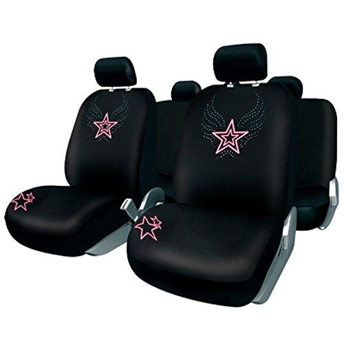 BC Corona FUK10401 Juego de Fundas para Asiento Coche 11 Piezas Modelo Ibiza Color Negro/Rosa. Trasera Partida