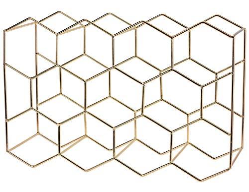 matrasa Weinregal Honeycomb für 11 Flaschen - geometrisches Flaschenregal aus Metall 30x15x45cm Gold