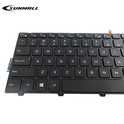 Product Image 1: SUNMALL New Laptop Notebook Replacement Keyboard with Backlit Compatible with Dell Inspiron 15 3000 3541 3542 5000 5547 Black US Layout