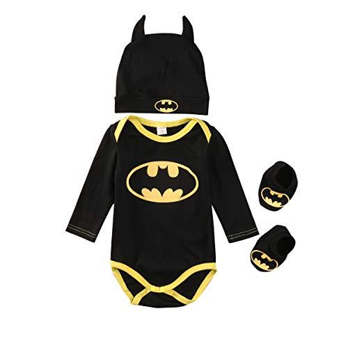 LovSmile Toddler Baby Boy Girl Fancy Bat Halloween Costume Dolman Sleeve Shirt Bat Wing Romper Outfit (18-24 Months, Batman Outfits)