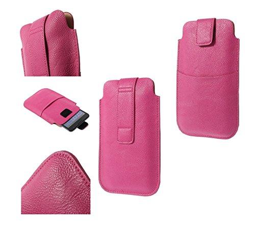 DFVmobile - Etui Tasche Schutzhülle aus Kunstleder mit Klettbandverschluss & Vordertasche für alcatel A7 XL - Rosa
