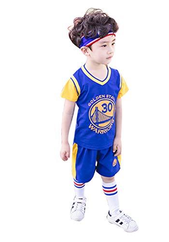 HANHOU Kinder Basketball Trikot Stephen Curry, 30 Golden State Warriors Jungen Basketball Uniform, Mädchen Mode Basketball Weste Kinder Trikot-blue-110
