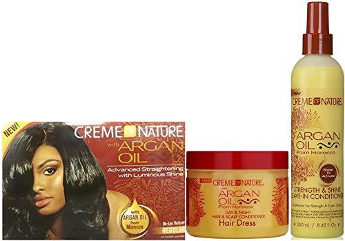 Crema de la naturaleza con aceite de argán Advance alisador sin mentira – Regular, día noche pelo y cuero cabelludo acondicionador con acondicionador sin dejar en juego (juego de 3)