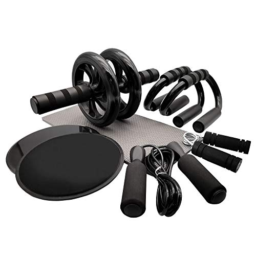 Euyecety Bauchtrainer 8-in-1 Fitness Geräte, Bauchroller AB Roller Bauchtrainer Set für Bauchtraining, 2 Liegestützgriffe + Fingertrainer + Springseil +2 Core Sliders mit Kniematte, Bauchtraine Roller