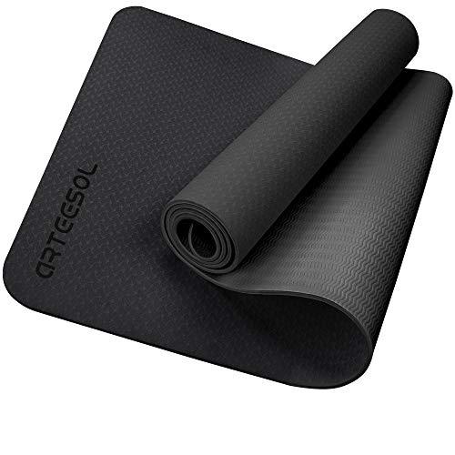 Colchoneta de ejercicios, antideslizante, TPE ecológico con correa de transporte para gimnasia, yoga, pilates y entrenamiento