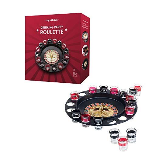 Roulette Trinkspiel Partyspiel mit Drehrad 16 Schnapsgläsern und 2 Kugeln Roulettespiel für Partys Saufspiel für Erwachsene Party Geschenk für Männer und Frauen