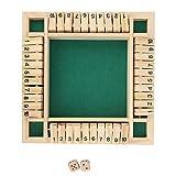 Juego de mesa de madera, Shut The Box 4 jugadores Juego de dados Número de tablero de juguete Juego de mesa de madera clásico Juguete educativo Adultos Suministros de entretenimiento para bares Cafés