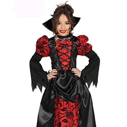 Disfraz de Drcula nia / Rojo-Negro 10 - 12 aos, 142 - 148 cm / Elegante Outfit gtico vampiresa / Ideal para carnavales Infantiles y Halloween