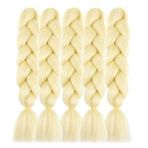 "Forevery Braiding Hair Kanekalon Synthetic Ombre Hair Braiding Extensions High Temperature Fiber Crochet Twist Braids (24"", 613 Blond)"