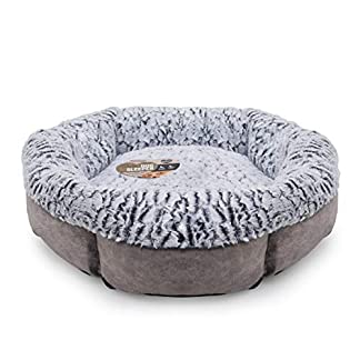 Medium dog bed for dogs, machine washable, super soft fleece lined faux suede dog bed, grey, 64 x 64 x 20cm (approximately 25 x 25 x 8 inch) 4
