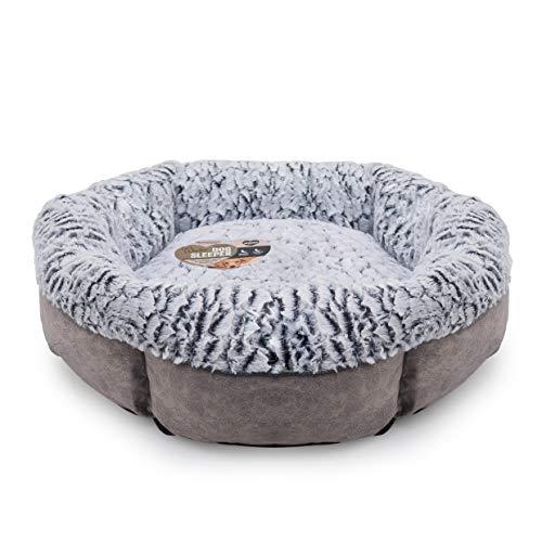Rosewood Hundebett für Hunde, maschinenwaschbar, super weiches Fleece gefüttert, Velourslederimitat, Grau, 64 x 64 x 20 cm