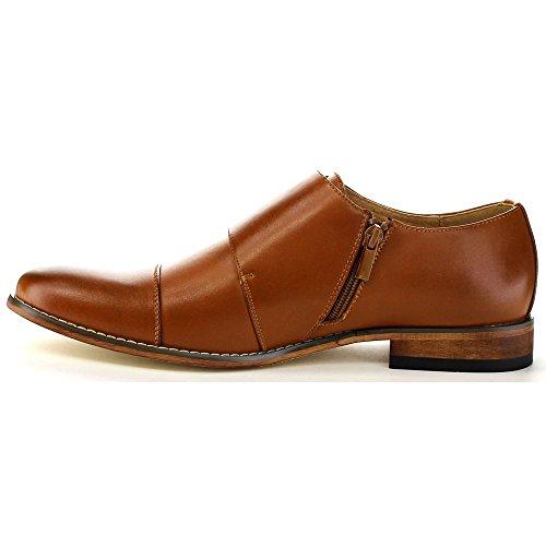 UV SIGNATURE EA27 Men's Chic Cap Toe Monk Strap Dress Shoes Run Half Size Big, Color:LIGHT BROWN, Size:12