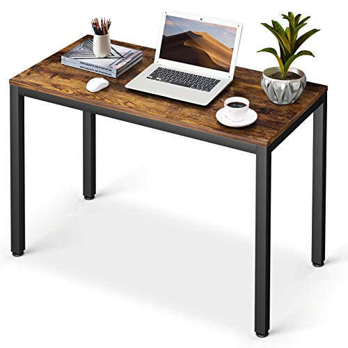 Computer Writing Desk Amzdeal 40' Home Office Desk, Retro Study Laptop Desk Industrial PC Table with Sturdy Metal Frame, Rustic