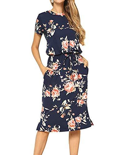 YOINS Kleider Damen Knielang Blumen Blusenkleider Langarm Sexy R&hals Shirtkleider Elegante Winterkleid Damen mit Gürtel Blau S