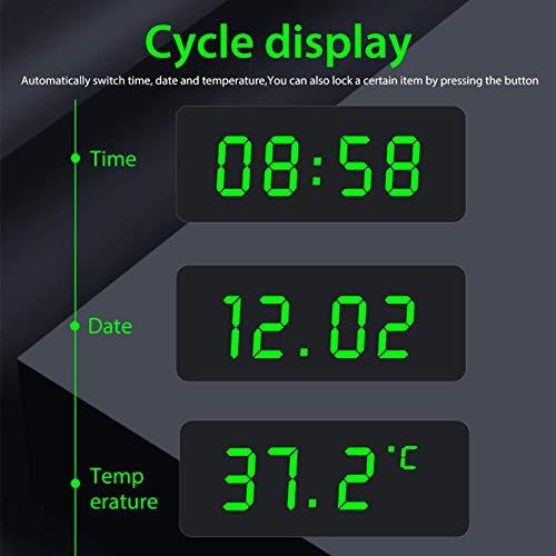 HELLOO HOME Auto Digital Thermometer Uhr Solarbetriebenes Auto Armaturenbrett LCD Uhr Uhr Thermometer Eingebaute Batterie Auto Dekoration Elektronisches Zubehör skilful