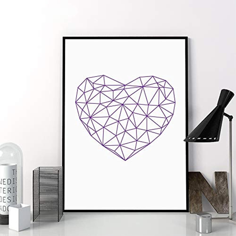 el mas de moda Corazón Corazón Corazón poligonal Obra de arte Cuadro de la parojo Muestra del amor geométrico Cartel de la pintura de la lona Decoración para el hogar marco 40x50 cm  nuevo listado
