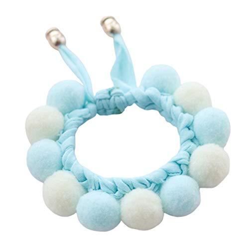 WFZ17 Hecho a mano bolas de felpa costura collar perro correa cuello bufanda babero para suministros de mascotas bebé azul M