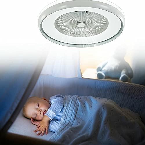 Ventilador de techo LED silencioso con iluminación de 3 niveles con temporizador y mando a distancia para dormitorio, habitación infantil