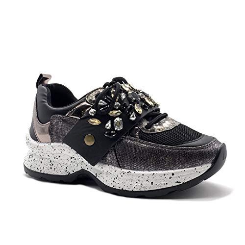 Angkorly - Damen Schuhe Sneaker - Streetwear - Metall Detail - Sporty chic - Strass - Pythonschlangenhauteffekt - Malaufgabe Keilabsatz high Heel 5.5 cm - Schwarz BL272 T 41