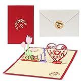 Kesote 3D Biglietto d'Auguri per Festa della Mamma Carta Creativa con Disegno di Fiori e Cuore Perfetto Regalo per Mamma, 1 Biglietto + 1 Busta