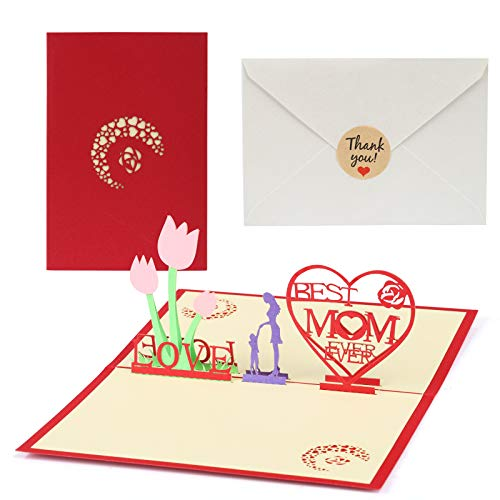 Kesote 3D Tarjeta de Felicitación para el Día de la Madre Tarjeta Creativa con Diseño Floral y Corazón Regalo de Mamá, 1 Pegatina Pequeña + 1 Sobre
