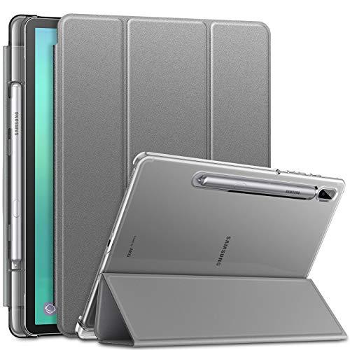 INFILAND Hülle für Galaxy Tab S6 2019, Superleicht Transluzent Schutzhülle mit Pencil Halter kompatibel mit Samsung Galaxy Tab S6 2019 T860/T865 10.5 Zoll,Grau
