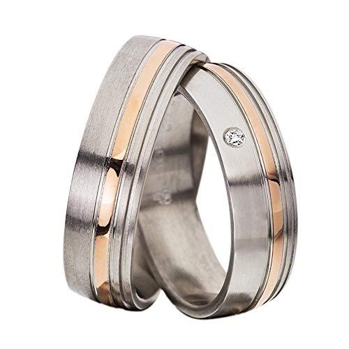 CORE by Schumann Design Trauringe Eheringe aus 585 Gold (14 Karat) Rotgold/Edelstahl Bicolor mit echten Diamanten GRATIS Testringservice & Gravur 19005933