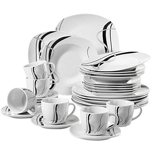 VEWEET Fiona 30 Piezas Vajillas de Porcelana Juegos con 6 Taza 175 ml, 6 Platillo, 6 Platos, 6 Platos de Postre y 6 Platos Hondos para 6 Personas