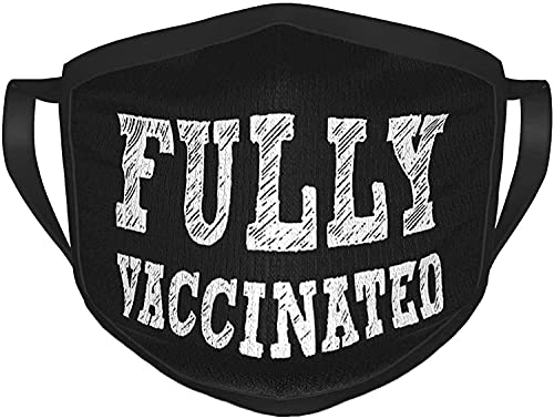 Totalmente vacunado I Got My Vaccine Black Ajustable Anti Polvo Cara Boca Reutilizable Lavable Cara Facial Polvo Boca Bufanda