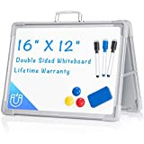 Small Dry Erase White Board, ARCOBIS 12'X16' Magnetic Portable White Board Double-Sided Desktop Foldable Easel Whiteboard for Kids Students Classroom Home Office