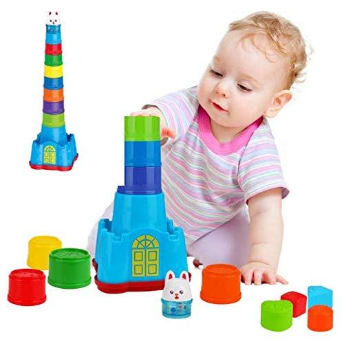 E-More Súper Torre Apilable, Caja apilable Mader, 15 Pieces Cubos Apilables Playa Juguete Bebe 6 Meses-Bloques Construccion Bebe Apila y Descubre