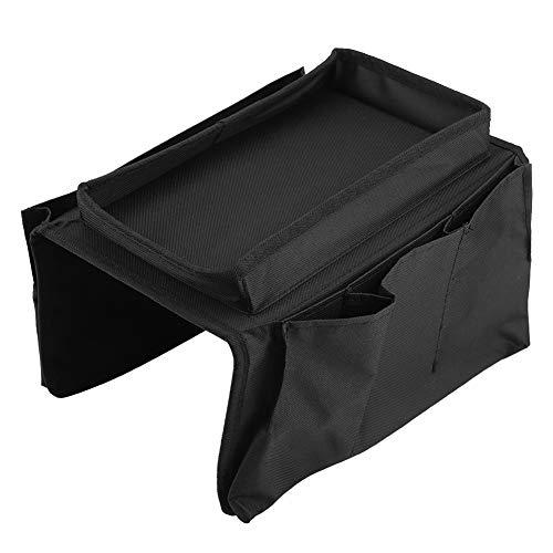 Borsa portaoggetti da appendere al divano, multifunzionale, con vassoio portabicchieri, grande capacità, ideale per ordinare riviste, iPad (nero)