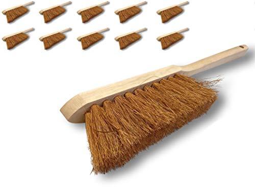 Balayette brosse en fibres de coco naturel   Lot de 10   Manche long en bois   Longueur 45 cm   Produit écologique   Poussière sable terre plâtre ciment cendres cheminées barbecues   Kibros 10LOT2150