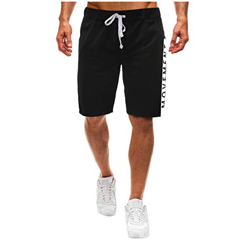 Transwen Pantalones Cortos de Verano para Hombre, monocromos, Multiusos, para la Playa, Correr, Cintura Alta, para Hacer Deporte, Fitness, para Hombre Negro XL