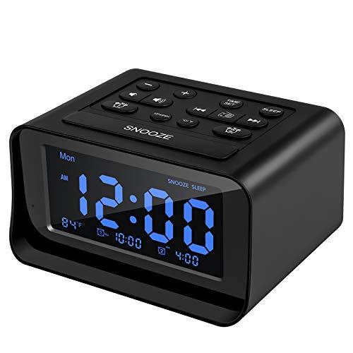 Acsonwin Digital Alarm Clock Radio with Dual USB Charging Ports, Electric Clocks for Bedroom/Kids, Dual Alarms, Adjustable Brightness&Alarm Volume, 12/24H, Snooze, Temperature, Battery Backup (Black)