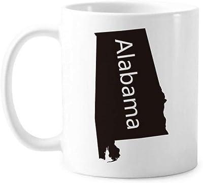 アラバマ州は、アメリカ合衆国アメリカ  アメリカ地図のシルエットの古典的なマグカップ白陶器セラミックカップギフトミルクコーヒーの350 mlのハンドル