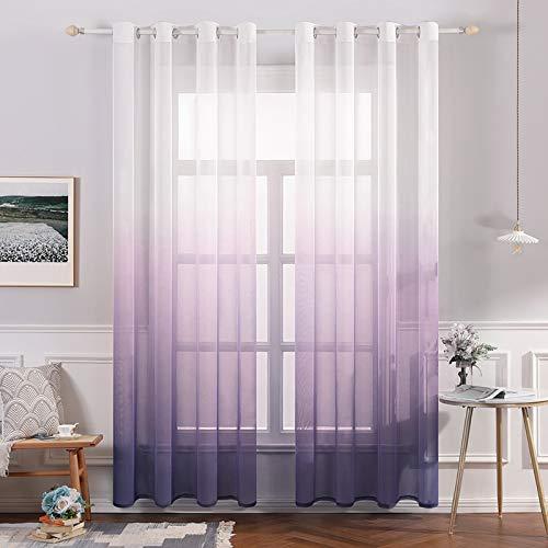 MIULEE Sheer Vorhang Voile Farbverlauf Dekoschal Vorhänge mit Ösen transparent Gardine 2 Stücke Ösenvorhang Gaze paarig Fensterschal für Wohnzimmer 225 cm x 140 cm(H x B) 2er-Set Lila