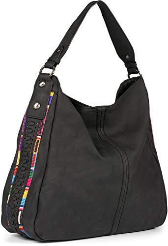 styleBREAKER Damen Hobo Bag Handtasche aus Kunstleder mit seitlichen Boho-Verzierungen, Shopper, Schultertasche 02012355, Farbe:Schwarz