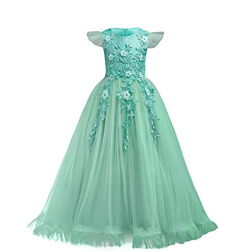 Flower Girls Dress Bridesmaid Wedding Pageant Party Princess Communion Floral Boho Vintage Lace Dance Maxi Gown for Kids Turquoise Green 11-12 Years