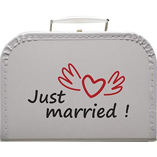 Hochzeitskoffer Just Married, Pappkoffer mit Trim Farbe weiß, Größe 25 x 17,5 x 8,5 cm