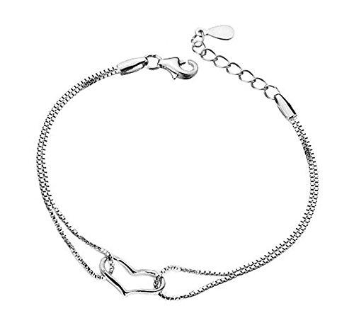 Lameida elegante placcato in argento con ciondolo a forma di cuore decorazione regolabile bracciali per donne ragazze regalo di compleanno