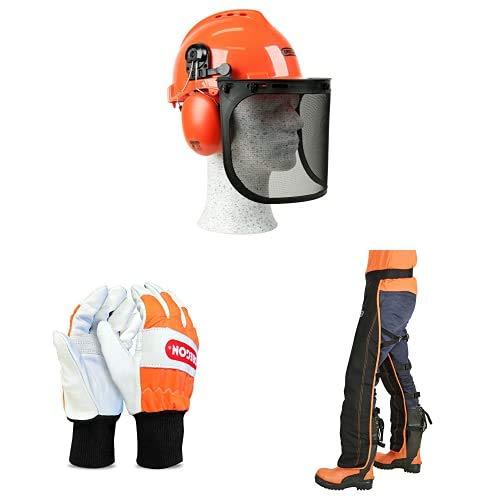 Oregon Kit de seguridad con perneras anticorte tipo A, casco forestal y guantes de protección talla M