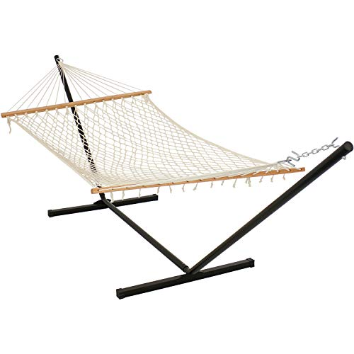 Sunnydaze Cotton Rope Hammock with Unfinished Wood Spreader Bars - 12-Foot Stand - 350 Pound Weight Capacity