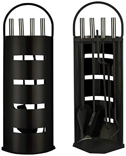 trendmile Premium Kaminbesteck/Ofenbesteck 5-teiliges Set Kamin Besteck Schwarz/Silber