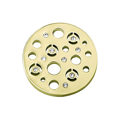 Quiges Dames Coin 33mm RVS met Zirkonia Rondjes Goudkleurig voor Munthouders en Kettingen