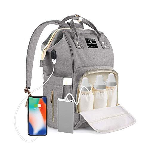 ComfyDegree Baby Wickelrucksack Wickeltasche, Multifunktionale Wasserdichte Babytasche für Mama und Papa, Oxford Windelrucksack mit USB-Ladeanschluss, Kinderwagengurte, Wärmetaschen Reisetasche