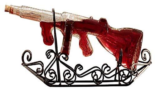 750ml Decanter di whisky creativo, bottiglia di forma di pistola con submachine unica con sedile in acciaio scolpito in vetro liquido scozzese scotch bourbon vodka, per gli amanti del vino domestico D