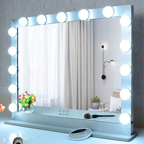 WONSTART Grand Miroir Maquillage Hollywood Eclairé, Miroir Lumineux avec Ampoules 15 LED, Miroir Murales ou Miroir pour Coiffeuse (70/55.2cm Argent)
