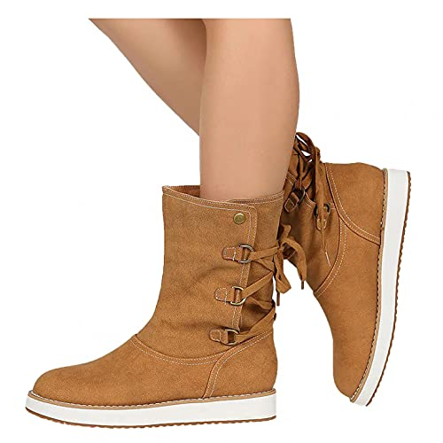 Hbeylia Platform Boots For Women Ladies Fashion Casual Leopard Design Lace Up Suede Chunky Bottom Wedge Low Heels Non Slip Mid Calf Short Boots Ankle Booties Fall Winter Shoes